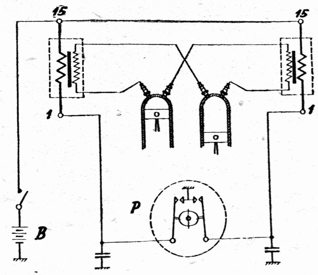 Schéma zapojení dvojité zapalování JAWA a CKB 250 OHC