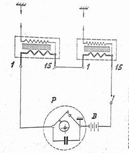 Schéma zapojení dvojitého akumulátorového zapalování u strojů ČZ 125 OHC