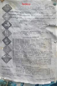 Jídelní lístek 1965